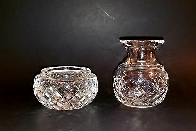 WATERFORD Crystal 2 piece lot vase & Ashtray Ireland Signed w/ old mark
