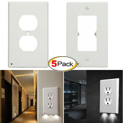 5x Outlet Wall Plate Led Night Lights Cover Duplex With Ambient Light Sensor US