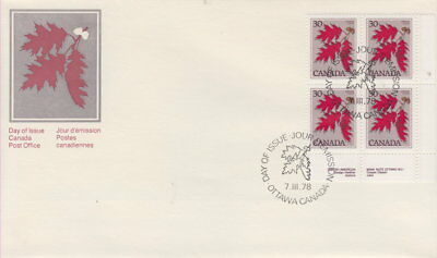 Canada #720 30¢ Tree Definitives - Red Oak Lr Plate Block First Day Cover