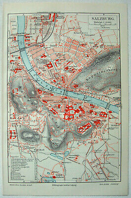 Original 1909 City Map of Salzburg Austria by Meyers. Antique