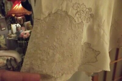 Antique/Vintage 1920's Silk & French Alencon Lace Handmade with tag
