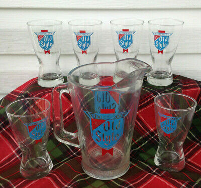 Heilemans Old Style Pitcher w/6 Glasses