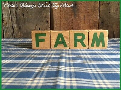 """Child's Antique Toy Wood Blocks spell """"FARM"""" Country Farmhouse Great Old Paint"""