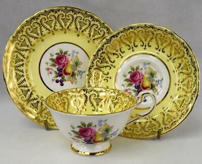 c1960s Vintage Yellow Paragon China~Cabinet Cup & Saucer~Hand Painted Gold Gilt~