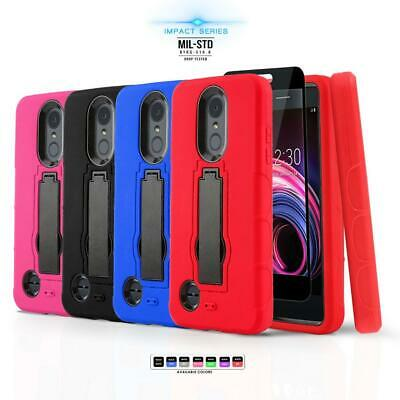 for LG PHOENIX 4, [Impact Series] Phone Case Covers Kickstand +Tempered Glass
