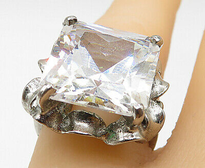 925 Sterling Silver - Large Prong Set Cubic Zirconia Cocktail Ring Sz 6 - R9452