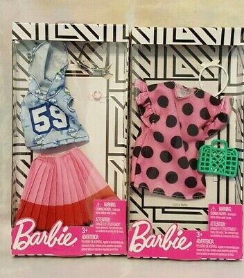 Barbie Fashion Packs Lot of 2 Outfits Hoodie Top Skirt Dress & Accessories New