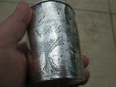 1828 Rare COIN SILVER - FOLK ART DECORATED - PRESENTATION CUP from LIMA NEW YORK