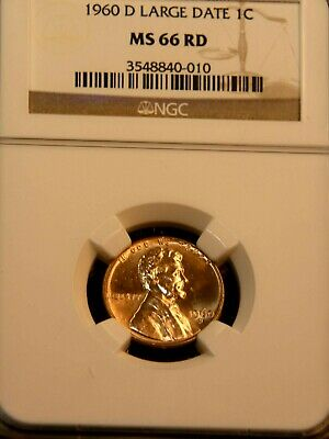 1960-D Lincoln Cent Large Date NGC MS66RD Bright Red Superb Luster, PQ #G242