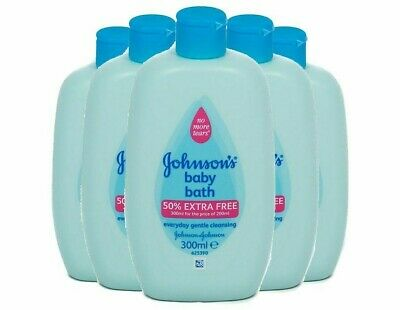 """5 Pack Baby Johnsons Bath """"300ml x 5"""" Everyday Gentle Cleansing No More Tears"""
