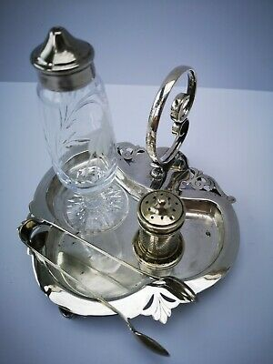 Vintage Cut Glass, Silver Plated Salt,Pepper Pot, EPNS sugar tongs on tray.