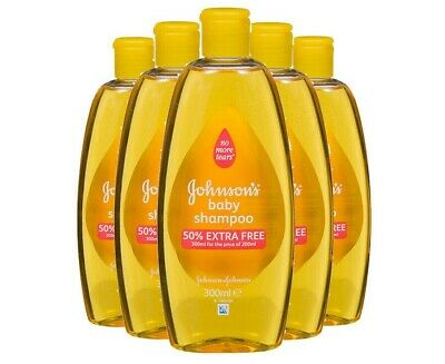 Pack of 5 x 300ml Johnsons Baby Shampoo No More Tears Soothing Hair Cleanser