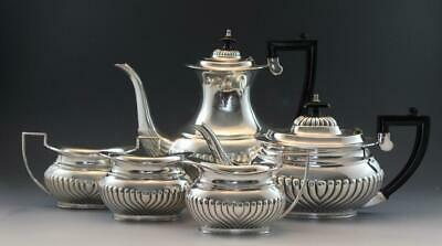 Antique Sheffield England Silver Plate 5 Piece Tea & Coffee Set w/ Gadrooning