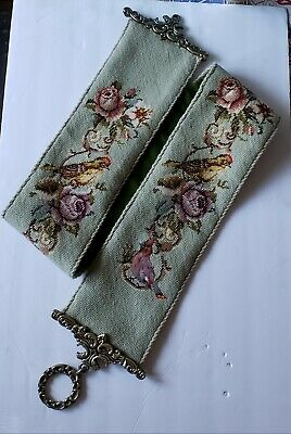 """Vintage Brass Bell Pull Needlepoint Wall Hanging Floral & Bird Design 63"""" Long"""