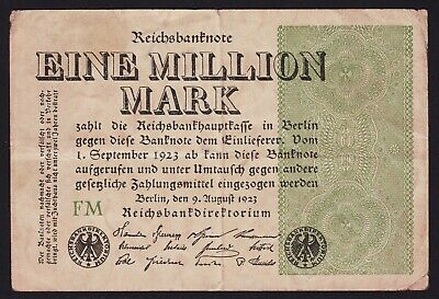German 1 Million Mark 1923 Reichsbanknote P-102c Watermark Gitter mit 8