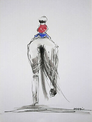 ORIGINAL ART DRAWING * pen & Ink * First Pony #2 By Poppi