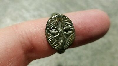 Ancient Roman Bronze RING (#31b) Large Engraved Bezel, 20 mm Diameter