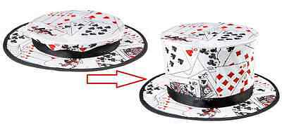 Playing Cards Style Folding Top Hat Magic Trick Stage Street Magician Close Up