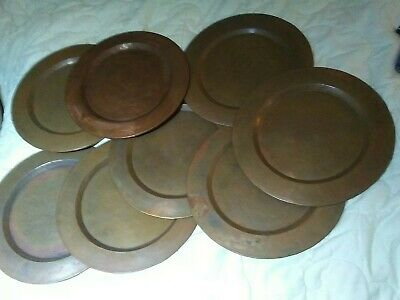 Antique vintage hammered copper dinner plate chargers set of 8