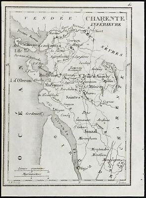1830ca - Charente Lower (Maritime) - Old Map of the Département. Tardieu