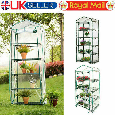 4 & 5 Tier Mini Greenhouse Walk In Grow Bag Replacement PVC Cover Plastic Garden