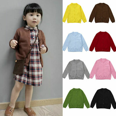 Baby Kids Girls Boys Long Sleeve Knitted Sweater Cardigan Coat Outwear Tops 0-5Y