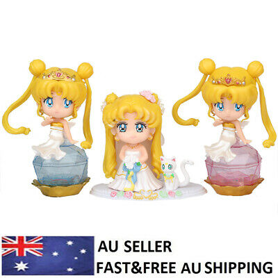 Sailor Moon Anime Action Figure Doll Toys Kids Gifts Cake Toppers Decor 3 PCS