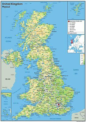 School Wall Map A2 Laminated Maps United Kingdom Poster Road Towns Cities Office