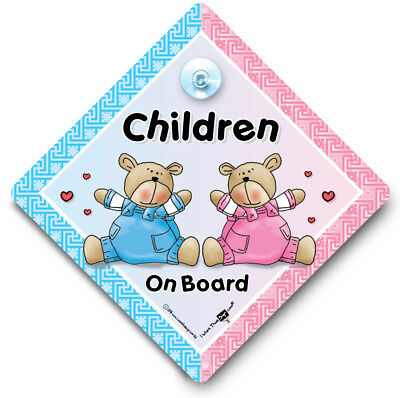 Children On Board Car Sign, Baby On Board Sign, Suction Cup Sign, One of Each