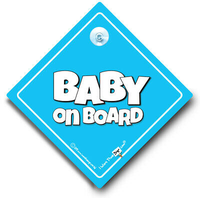 Baby On Board Sign, Baby Boy On Board, Powder Blue Suction Cup Car Sign