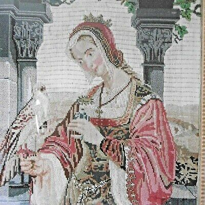 Tapestry Beadwork Lady Crown  Crucifix  Grapevine Bird of Prey French ?