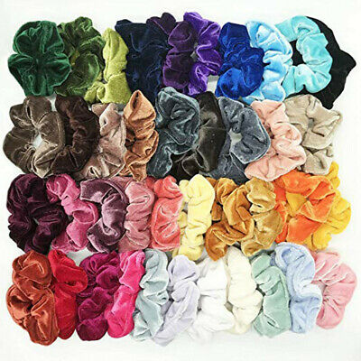 100 Pack Hair Scrunchies Velvet Scrunchy Bobbles Elastic Hair Bands Holder UK