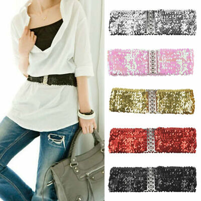 New Girls Women Bling Sequins Shining Stretchy Wide Belt Waistband For Dress