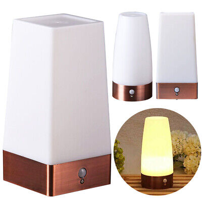 Wireless PIR Motion Sensor Night Light LED Battery Powered Table Warm Lamp Nice.