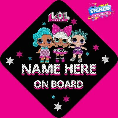 Personalised LOL Surprise Dolls Child/Baby on Board Car Sign New ~ Black & Pink