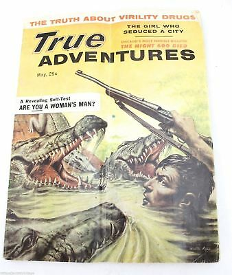 VTG True Adventure Mens Magazine Pinup May 1957 The Truth ABout Virility Drugs!