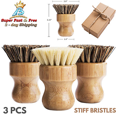 Skillet Cast Iron Cookware Grill Pan Cleaning Scrub Brush Coconut Bristle 2 Pack
