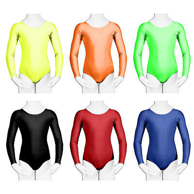 New Girls Kids Dance Gymnastic Leotard Long Sleeve Round Neck Bodysuit Top Vest