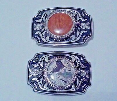 3 FLORAL DESIGN SILVER CUT-OUT BELT BUCKLES with  STONES
