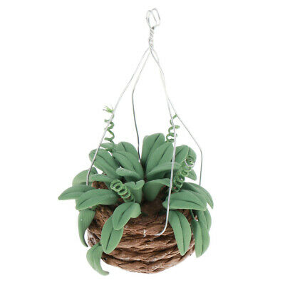 Dollhouse Miniature Clay Hanging Green Plant for 1/12 Scale Fairy Garden Kit