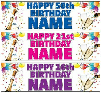 2x PERSONALISED Birthday Banner Party Decorations for 18th 21st 30th 60th 50th