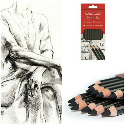 12 Charcoal Artist Pencils For Drawing Sketching Shading Draw Tones Shades UK