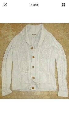 aef0b964965b26 GANT Mens Cable Knit Button-Front Shawl Collar Cardigan BEIGE Large L -NEW
