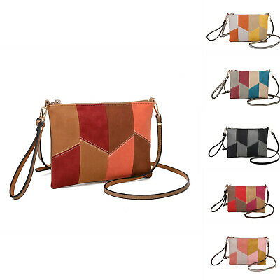 Woman Small Synthetic Leather Messenger Cross Body Bag - Irregular Stitched
