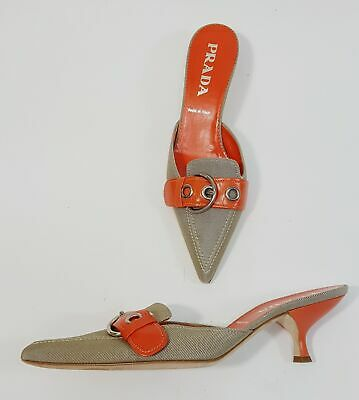 fddf240d91bd5 Prada Beige Canvas Orange Leather Pointed Toe Mule Heel Shoe Size 38.5 8.5