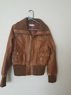 Ladies Tan Faux Leather Bomber Jacket Size 14