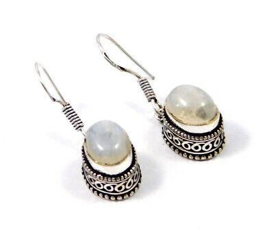 Rainbow Moonstone Carving Silver Plated Earring New Fashion Jewelry Gift JC9199