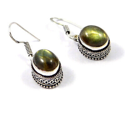 Labradorite Carving Silver Plated Earrings New Fashion Jewelry Gift JC9222