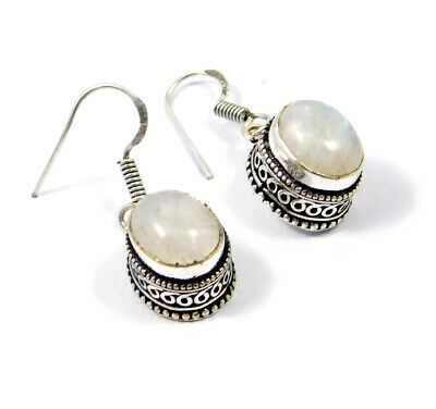 Rainbow Moonstone Carving Silver Plated Earring New Fashion Jewelry Gift JC9201