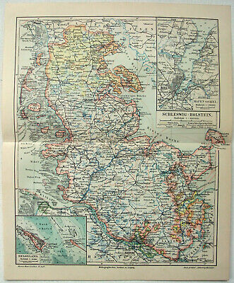 Original 1908 Map of Schleswig Holstein Germany by Meyers. Antique